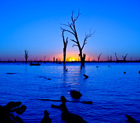 Fishing in the last light Lake Mulwala